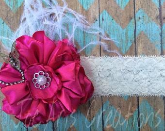 Singed Silk Flower Headband