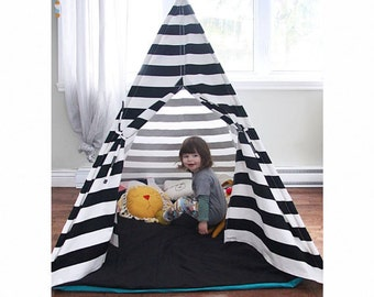 Teepee FULLY ASSEMBLED with POLES >Teepee play tent and play mat - black and white teepee and teal play mat