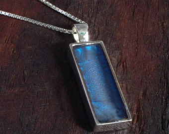 Silver Pendant - Midnight Blue Rectangle