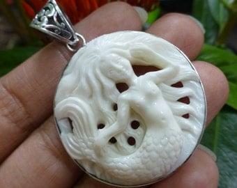 Sterling Silver Carved Bone Mermaid Pendant BP-152