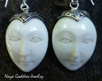 Sterling Silver Carved Naked Goddess Face Earrings GDE-1260