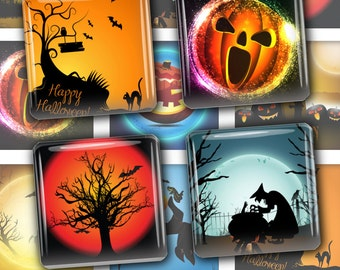 Halloween 1x 1 Inch Digital Collage Sheet Square Scrabble Tiles Images Halloween Decor Party Images Instant Digital Download