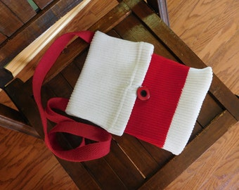 Upcycled Hockey Sock Purse - Sporty Handbag - Red and White Purse