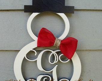 """20"""" Snowman Monogram Door Hanger"""