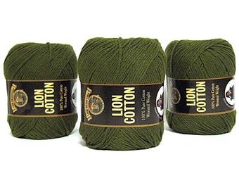 Green Lion Brand Cotton Yarn 3 Skeins Craft Supplies