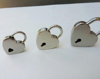 Heart Shaped Nickel Padlock Closure, Working Padlock, Three Sizes Available