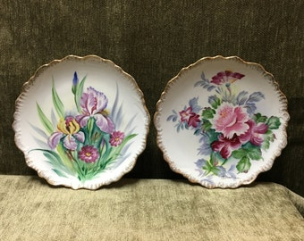 Andrea by Sadek Floral Wall Plates, Hand Painted  Floral Wall Plates, Chrysanthemums Plate, Lilies Plate, Scalloped, Gold Trim, Andrea Y8380