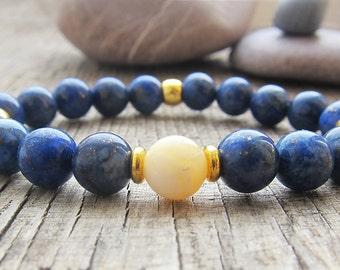 Mens Bracelet Unisex Bracelet Lapis Lazuli Bracelet Earthy Bracelet Shell peal Bracelet Gift ideas for men gifts for guys gifts for girls