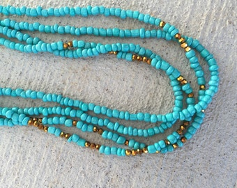 Teal and gold doubke wrap necklace