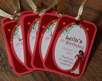Elena of Avalor Themed Party *** CUSTOMIZABLE *** Favor Tags - Gift Tags - Thank You Tags - Sold in Lots of 8 - Disney Jr. - Princess Elena