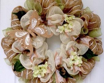 Spring Summer Burlap Pearl Butterfly  Handmade Deco Mesh