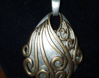 Beautiful Large Antique Silver and Gold Pendant 16 Inch Necklace