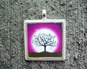Moonlit Winter Tree Resin Pendant Necklace - burgundy