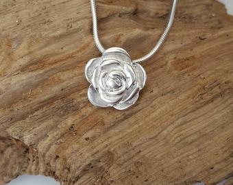 Fine silver Rose pendant