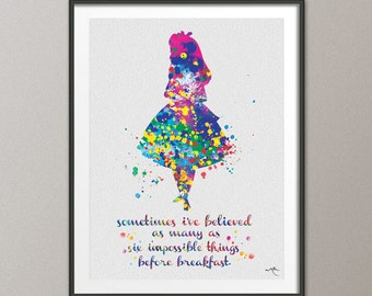 Alice in Wonderland Six impossible Things Quote Watercolor Print Nursery Wall Art Wall Decor Art Home Decor Wall Hanging [NO 363]