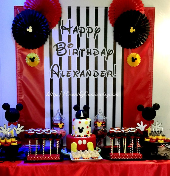 Vinyl Backdrops Mickey Clubhouse Birthday Party Backdrop