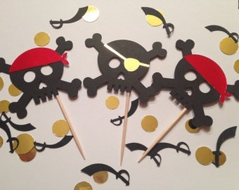 Skull Cupcake Toppers (Pirate Party, Pirate Theme, Mermaids and Pirates)