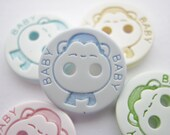 """10 Baby Buttons 12mm (1/2"""" inch) Baby Blue Pink Yellow Turquoise Green and White Monkey Buttons Baby Clothing Knitting Sewing Buttons"""