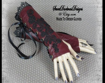 Gothic Wrist Cuffs Gothic Fingerless Gloves Corset MADE TO ORDER Gloves Wrist Corset Leather Gloves Gothic Clothing by SweetDarknessDesigns