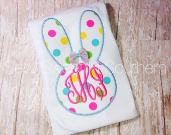 Easter Bunny Appliqued shirt, Chevron Easter bunny shirt with initials. Monogrammed Easter shirt.