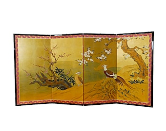 Japanese 4 Panel Screen Pheasants, Cherry and Prunus on Gold Leaf