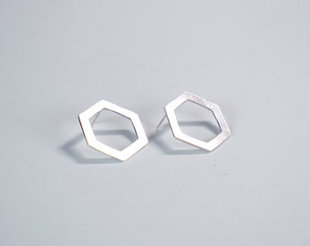 Silver Hexagonal Stud Earrings - Sterling Silver, Handcut Silver, Hexagons, Geometric Earrings, Lightweight Earrings