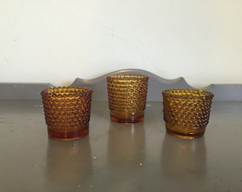 Three Mismatched Amber Glass Votive Candle Holders