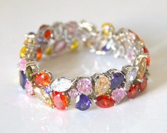 Bracelet Silver 925/1000 and Swarovski crystals (charges took included)