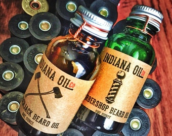 Indiana Oil Co. Beard Oil Lumberjack & Barbershop Scents (Hand crafted for manly men.)