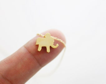 Tiny Gold / Silver Elephant Charm Necklace . Simple and Modern Necklace. Dainty and Delicate Necklace. Birthday Gift