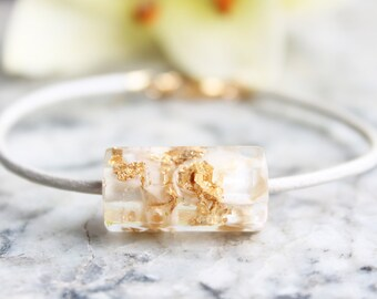 Nature Inspired Leather Bracelet with Resin Bead • White Nacre with Gold Flakes • Sea Collection