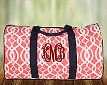 Monogrammed Ladies Large Weekend Bag/ coral, Weekend Duffle, Large Duffle Bag, Travel Duffle Bag, Travel, Luggage, Personalized