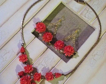 Coral Celluloid Vintage Necklace Upcycled Earrings