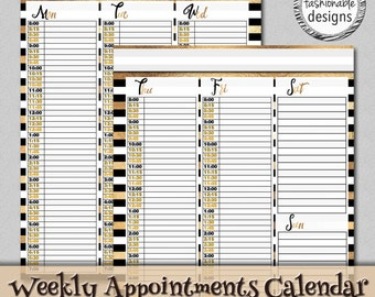 Printable Weekly Appointments Calendar, Faux Gold Foil and Black, Instant Download, 8.5x11