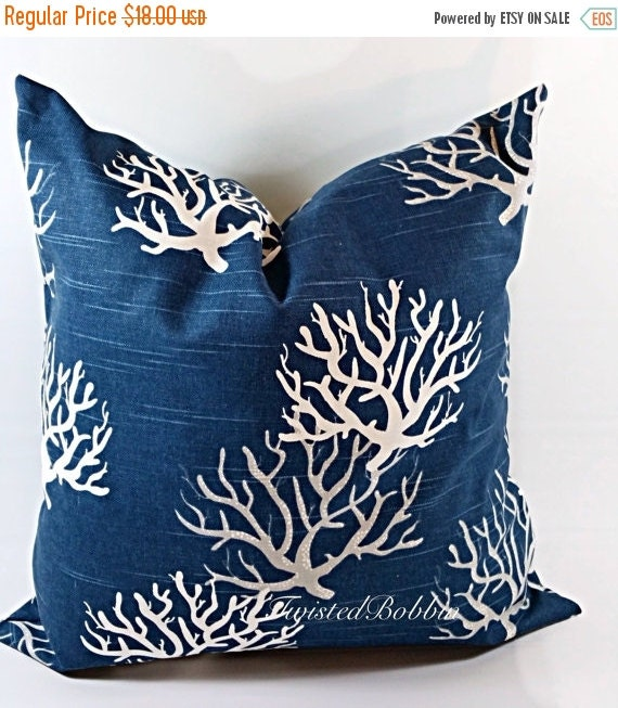 Blue Throw Pillow 20x20 : SALE Navy Blue Pillow.20x20.Pillows.coral by TwistedBobbinDesigns
