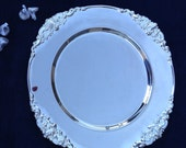 """HOLD FOR CAROLYN: a Vintage Set of 4 Godinger Silver Art Ltd.'s Baroque 12.5"""" Diameter Charger Plates w/Scrolled Relief Corners"""