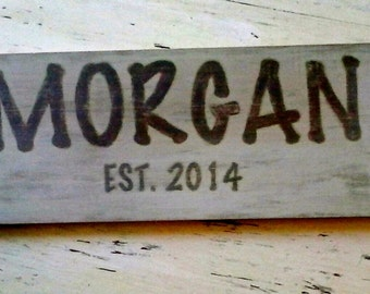 Distressed Wooden Name Sign
