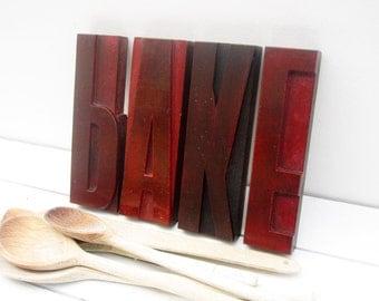 Baking Gift, Kitchen Decor, Kitchen Display, Wooden Letters, Letterpress Display, Letterpress Wording, Kitchen Wall Decor, Vintage Kitchen