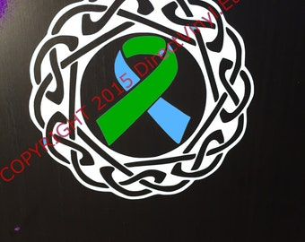 Light Blue and Green Awareness Ribbon Celtic Knot Decal