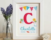 Personalised Baby Girls Name Frame Print, Unique Baby Gift, Nursery Art, Children's Room Letters, Sweets Candy Lollipop