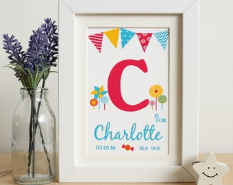 Name frame etsy personalised baby girls name frame print unique baby gift nursery art childrens room negle Images