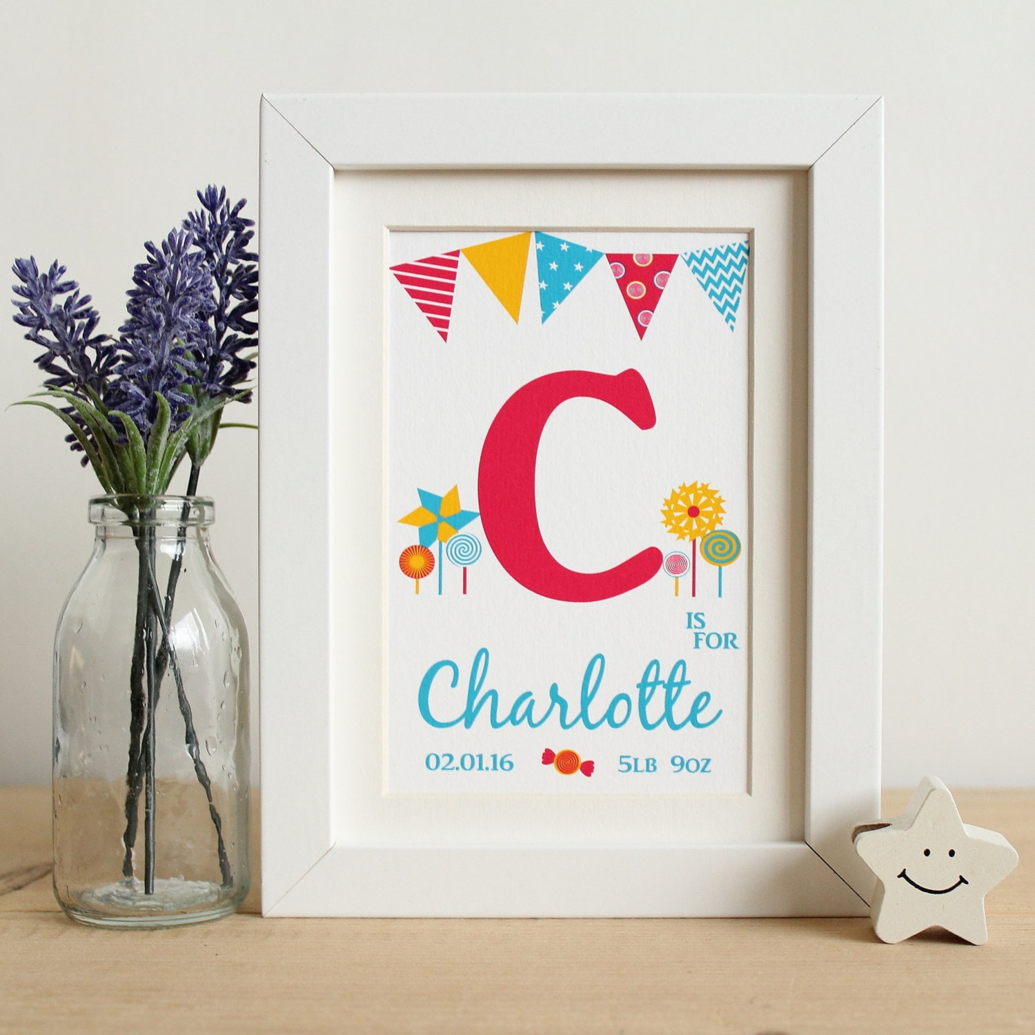 Novelty Baby Gifts Uk : Personalised baby girls name frame print unique gift