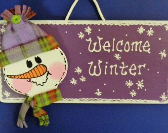 SNOWMAN Welcome Winter SIGN Season Holiday Plaque Christmas Wall & Door