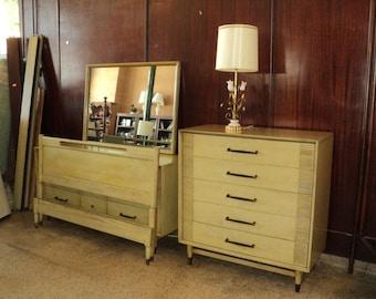 Four Piece 1950's Bedroom Set, Limed Walnut