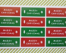 Red and Green Merry Christmas Stickers Xmas