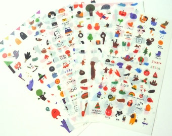 Set of 6 Super Cute Stickers for Scrapbooking and Planners