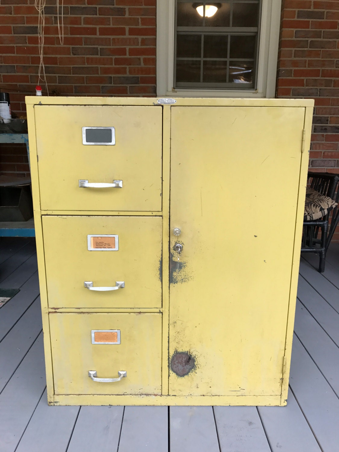Vintage Cole Steel Metal File Cabinet Combination Safe