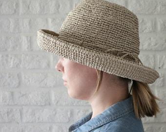 Crochet hat raffia, Summer hats women, Wide brim hat, Packable sun hat, Straw hat, Sun hat, Raffia straw hat, Adjustable hat