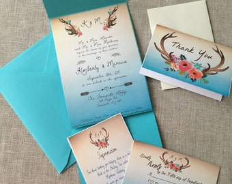 Watercolor Antler and Flower Wedding Invitation Set - DIGITAL - PRINT OPTIONS