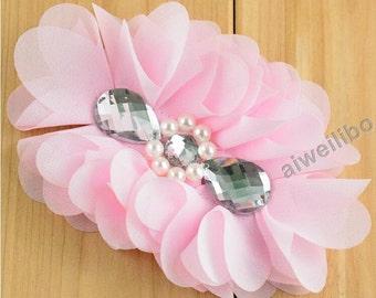 Chiffon Flowers,Pearl & Rhinestone Flower, Headband Flowers H10001